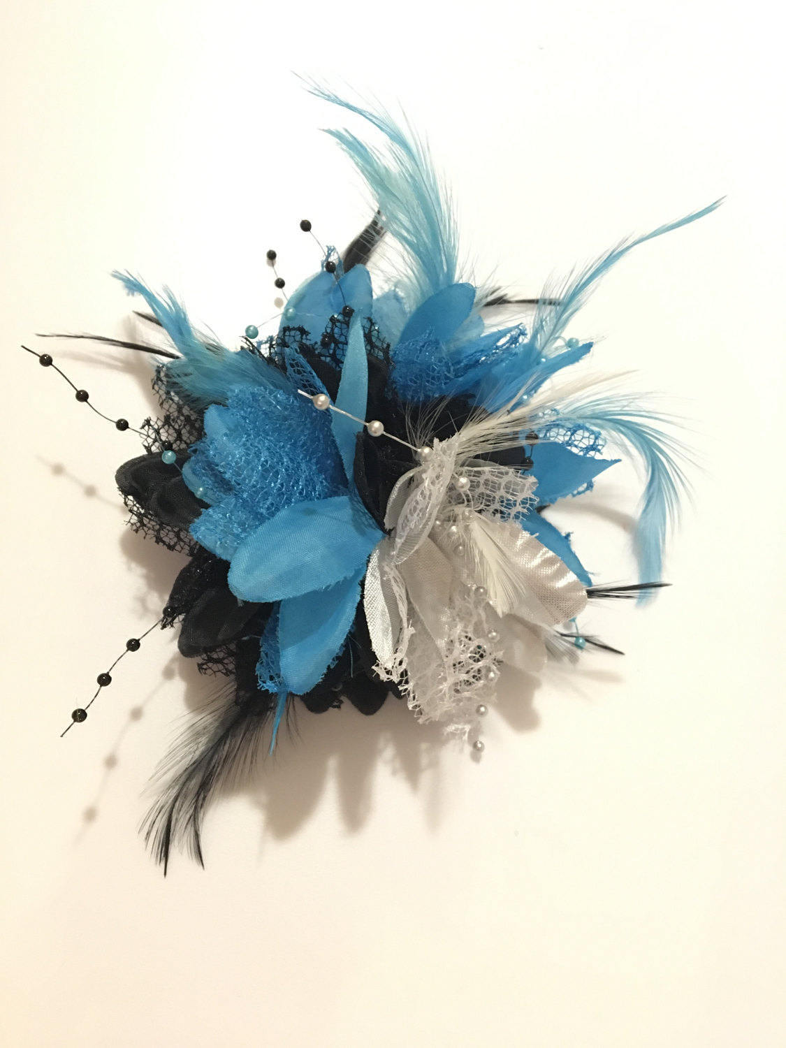 Caprilite Black and Aqua Blue and Silver Fascinator Black Headband Clip Comb Flower Corsage