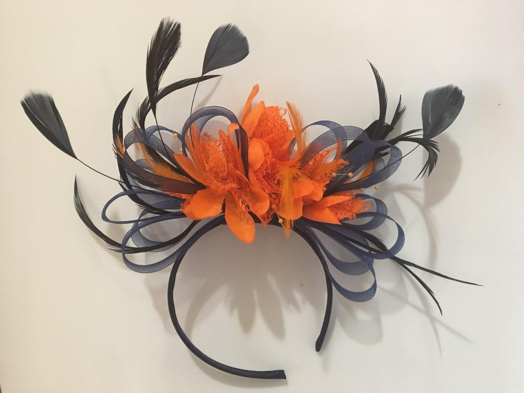 Caprilite Navy Blue Hoop & Orange Feathers Fascinator On Headband