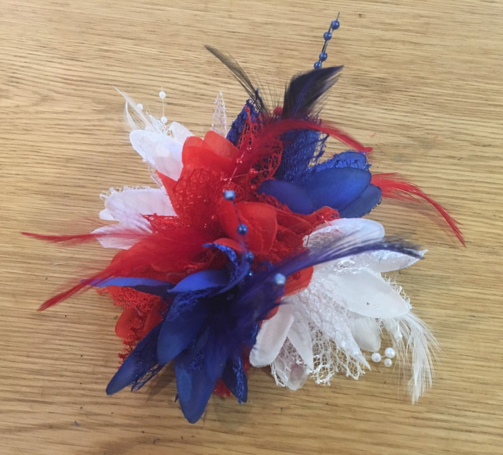 Caprilite Union Jack Blue Red White Fascinator Black Headband Clip Comb Flower Corsage