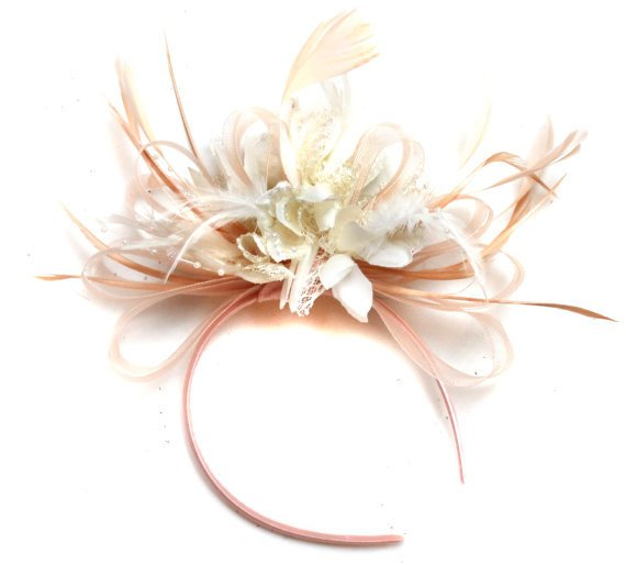 Caprilite Nude Salmon Pink and Cream ivory Fascinator on Headband Alice Band UK Wedding Ascot Races Loop