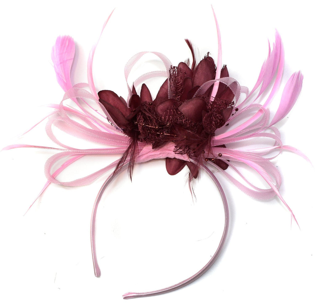 Caprilite Baby Pink and Burgundy Wine Red Fascinator on Headband Alice Band UK Wedding Ascot Races Derby