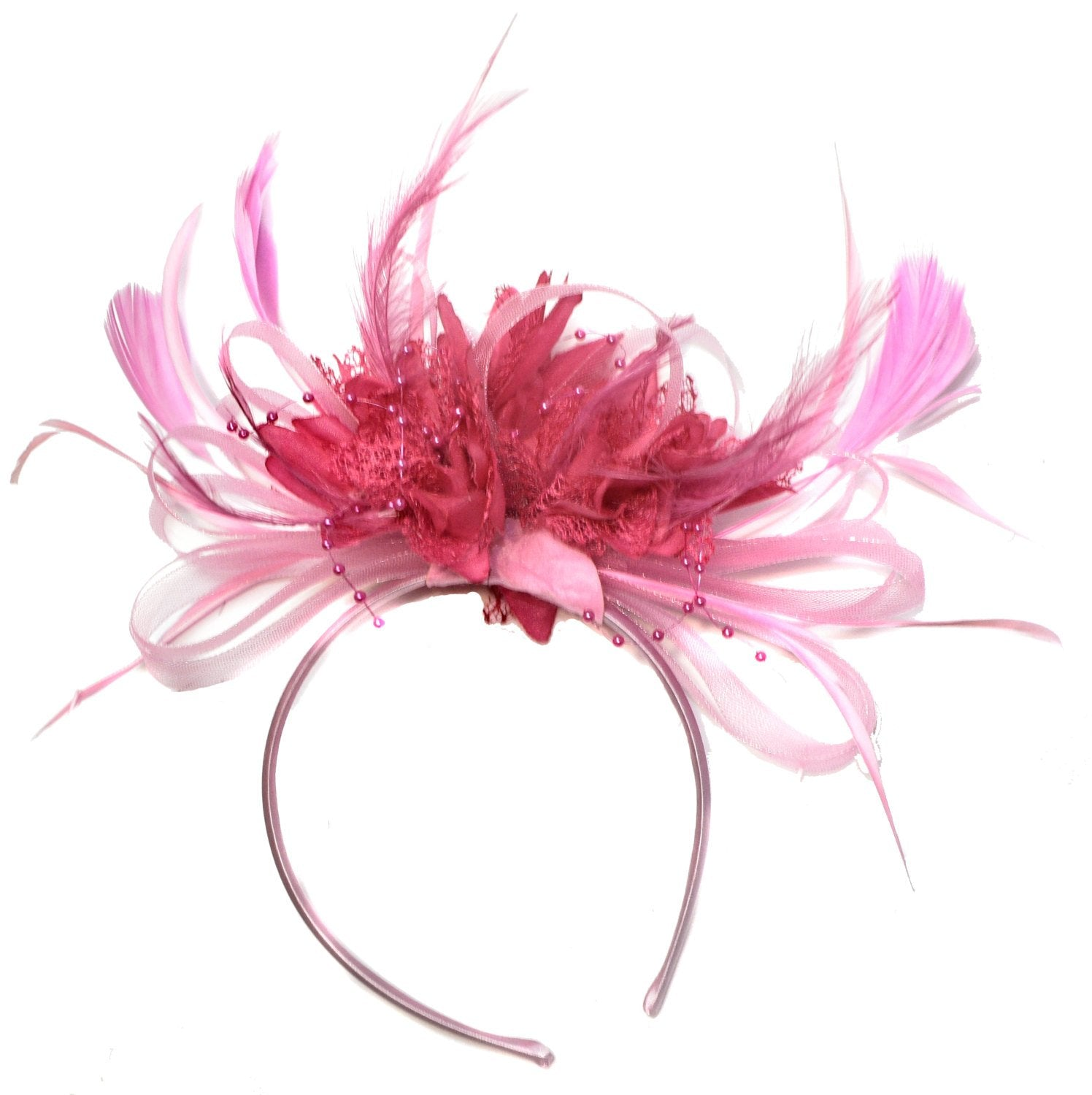 Caprilite Baby Pink and Fuchsia Hot Pink Fascinator on Headband Alice Band  UK Wedding Ascot Races eb4ec07a23e