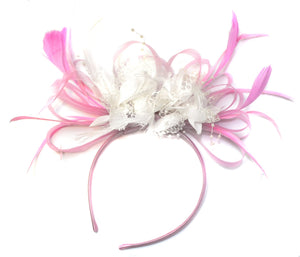 Caprilite Baby Pink and White Fascinator on Headband Alice Band UK Wedding Ascot Races Derby
