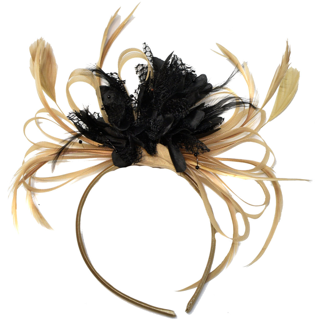 Caprilite Champagne Gold Beige Camel and Black Fascinator on Headband Alice Band UK Wedding Ascot Races Derby