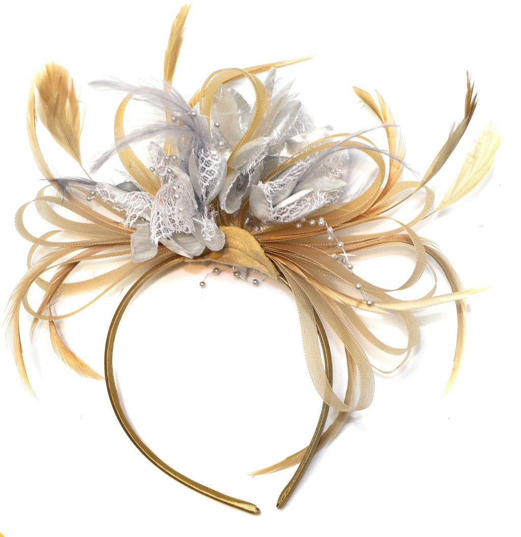 Caprilite Champagne Gold Beige Camel and Silver Fascinator on Headband Alice Band UK Wedding Ascot Races Derby