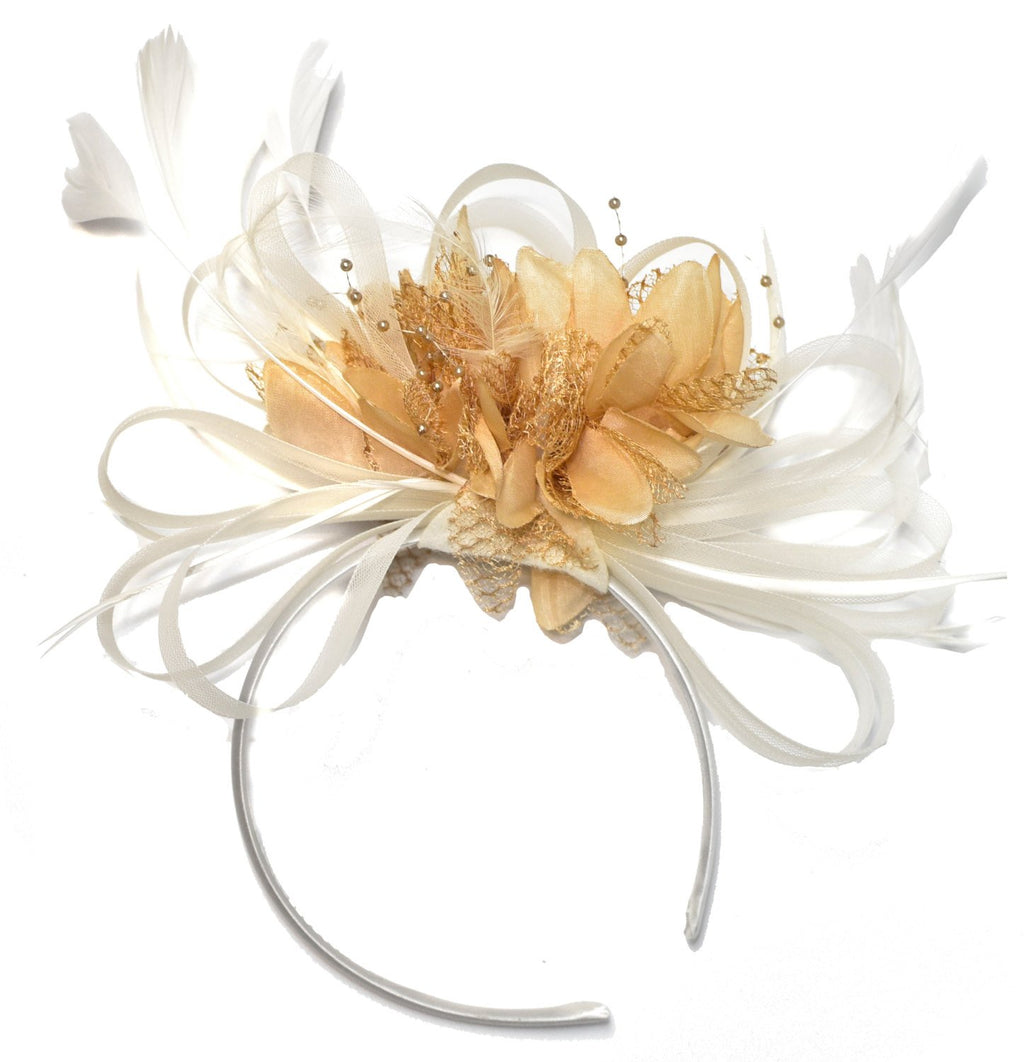 Caprilite White and Camel Beige Fascinator on Headband Alice Band UK Wedding Ascot Races Derby