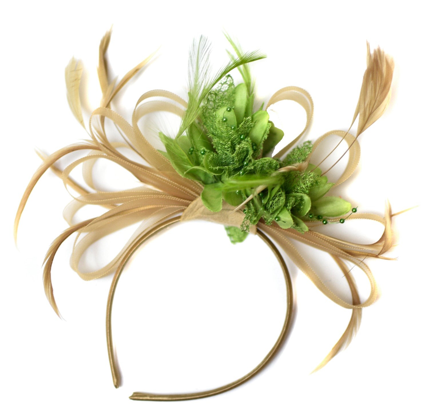 Caprilite Champagne Gold Beige Camel and Lime Green Fascinator on Headband Alice Band UK Wedding Ascot Races Derby