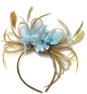 Caprilite Champagne Gold Beige Camel and Pale Light Baby Blue Fascinator on Headband Alice Band UK Wedding Ascot Races Derby