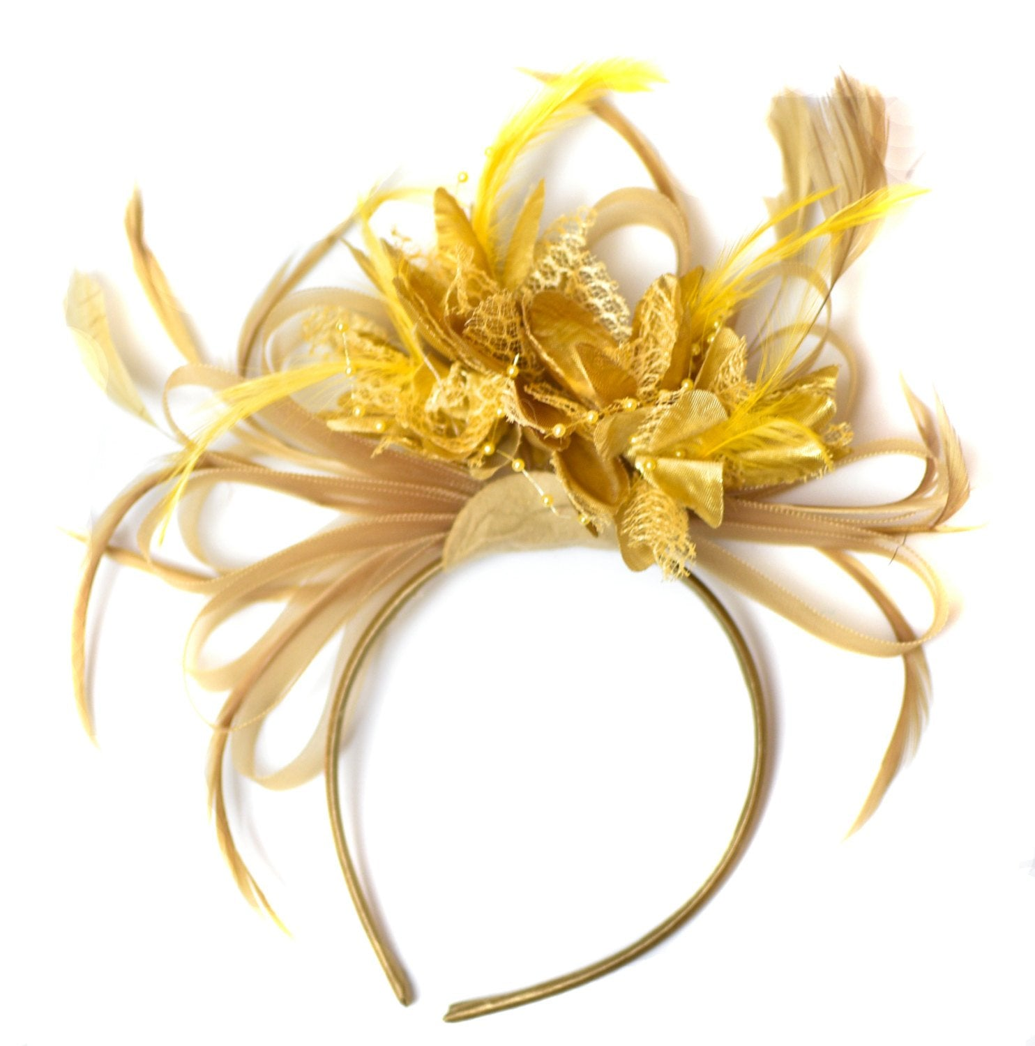 Caprilite Champagne Gold Beige Camel and Yellow Gold Fascinator on Headband Alice Band UK Wedding Ascot Races Derby