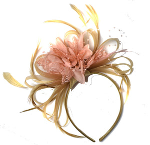 Caprilite Champagne Gold Beige Camel and Peach Salmon Pink Fascinator on Headband Alice Band UK Wedding Ascot Races Derby