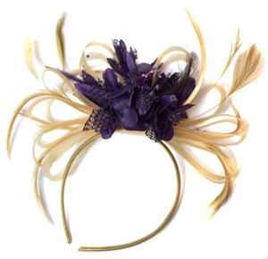 Caprilite Champagne Gold Beige Camel and Dark Purple Fascinator on Headband Alice Band UK Wedding Ascot Races Derby