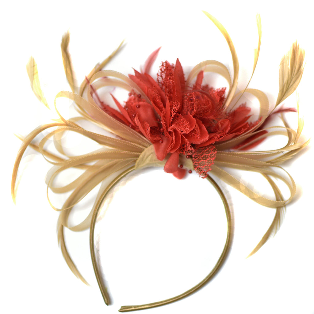 Caprilite Champagne Gold Beige Camel and Red Fascinator on Headband Alice Band UK Wedding Ascot Races Derby