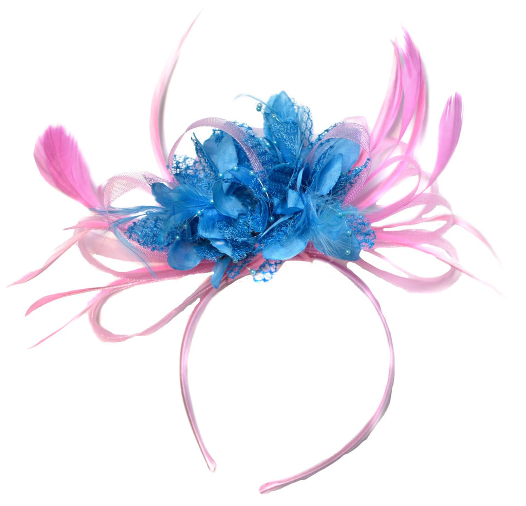 Caprilite Baby Pink and Aqua Sky Blue Fascinator on Headband Alice Band UK Wedding Ascot Races Derby