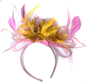 Caprilite Baby Pink and Gold Fascinator on Headband Alice Band UK Wedding Ascot Races Derby