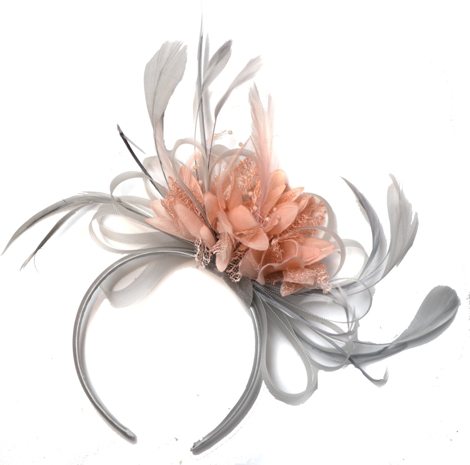 Caprilite Silver Grey and Blush Pink Peach Salmon Fascinator on Headband Alice Band UK Wedding Ascot Races Derby