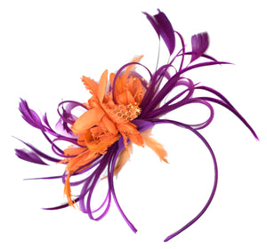 Caprilite Magenta Plum and Orange Fascinator on Headband Alice Band UK Wedding Ascot Races Derby