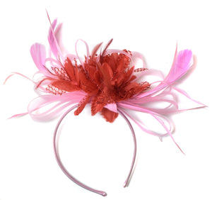 Caprilite Baby Pink and Red Fascinator on Headband Alice Band UK Wedding Ascot Races Derby