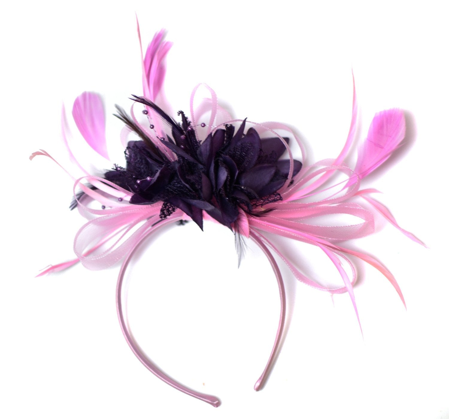 Caprilite Baby Pink and Dark Purple Fascinator on Headband Alice Band UK Wedding Ascot Races Derby