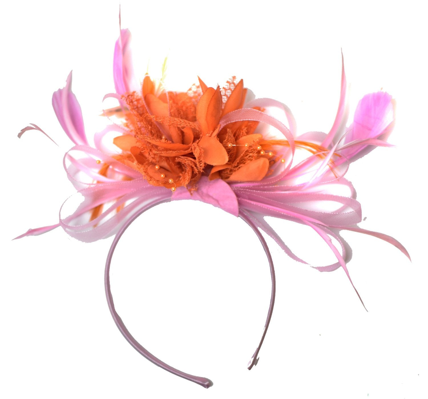Caprilite Baby Pink and Orange Fascinator on Headband Alice Band UK Wedding Ascot Races Derby