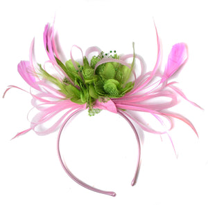 Caprilite Baby Pink and Green Fascinator on Headband Alice Band UK Wedding Ascot Races Derby