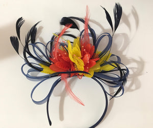 Caprilite Navy Coral and Yellow Fascinator on Headband Alice Band UK Wedding Ascot Races Derby