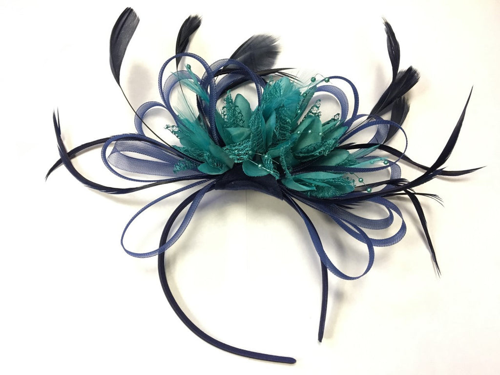 Caprilite Navy Blue Hoop & Turquoise Teal Feathers Fascinator Headband Ascot Wedding