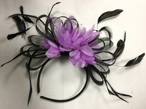 Caprilite Black Hoop & Lilac Purple Feathers Fascinator On Headband