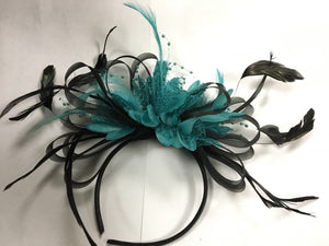 Caprilite Black Hoop & Turquoise Teal Fascinator on Headband