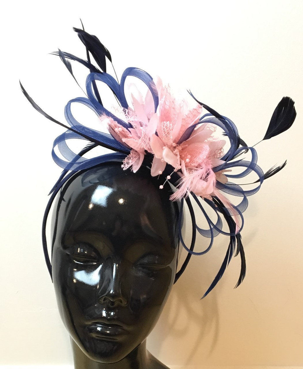Caprilite Navy Blue Hoop & Baby Pink Feathers Fascinator On Headband