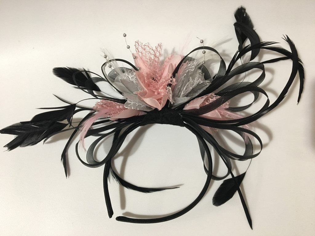 Caprilite Black, Baby Pink and Silver Net Hoop & Feathers Fascinator On Headband