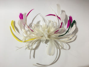 Caprilite Bespoke Cream Fascinator on Headband Alice Band UK Wedding Ascot Races Loop