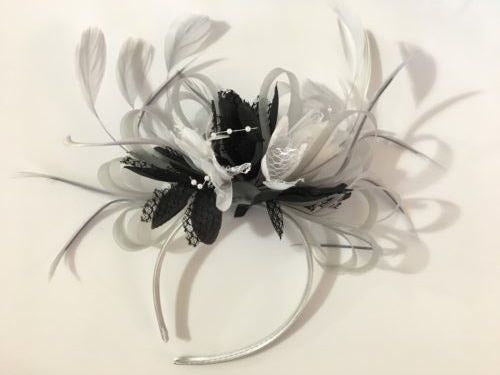 Caprilite Silver Grey and Black White Fascinator on Headband Alice Band UK Wedding Ascot Races Derby