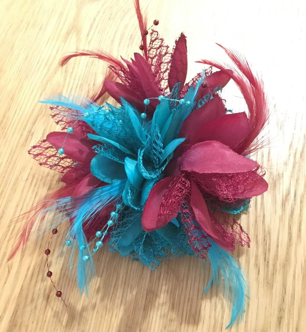 Caprilite Burgundy Wine red and Turquoise Teal Fascinator Black Headband Clip Comb Flower Corsage