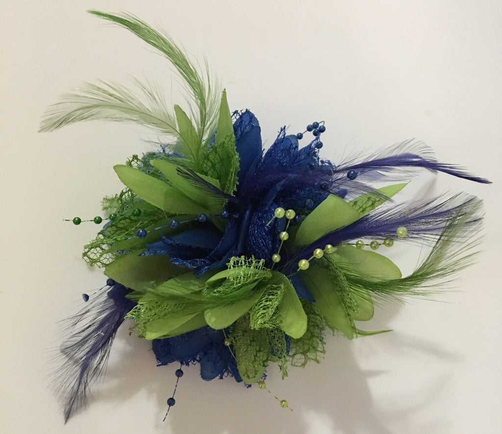 Caprilite Royal Blue and Lime Green Fascinator Headband on Clip Corsage Flower