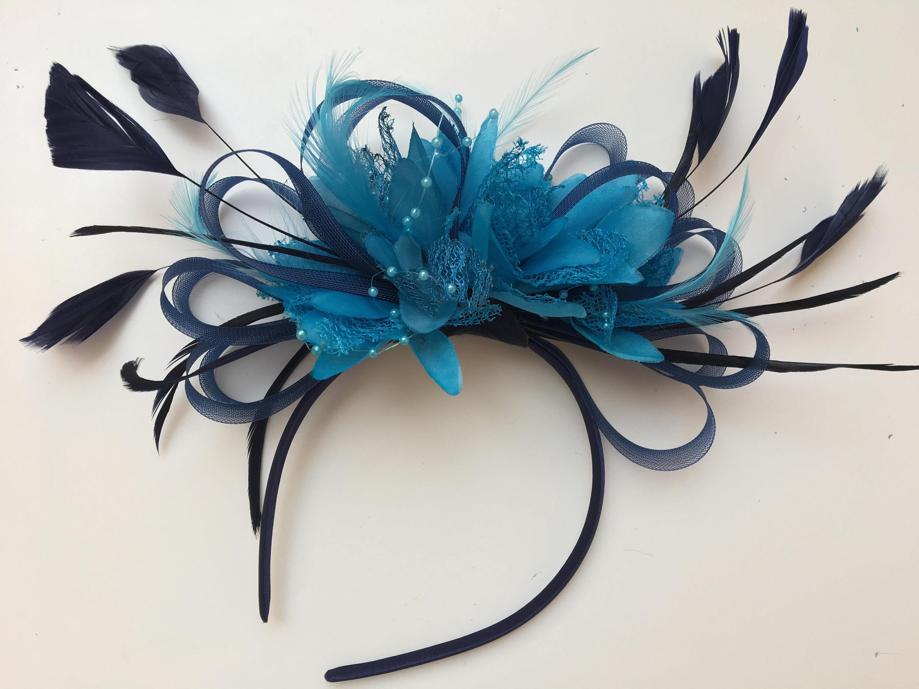 Caprilite Navy Blue Hoop & Aqua Blue Feathers Fascinator Headband Ascot Wedding