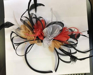 Caprilite Black Camel Beige Coral Silver Grey Fascinator on Headband AliceBand UK Wedding Ascot Races Loop