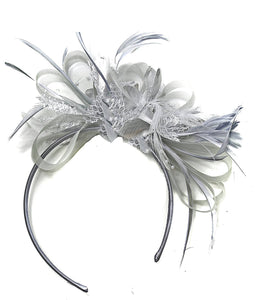 Caprilite Grey Silver Fascinator on Headband AliceBand UK Wedding Ascot Races Loop