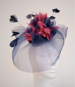 Caprilite Navy and Coral Big Feather Flower Fascinator Hat Veil Net Hair Clip Ascot Derby Races Wedding Headband