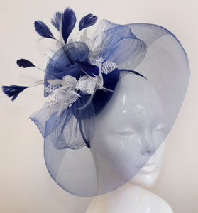 Caprilite Big Navy and Silver Fascinator Hat Veil Net Hair Clip Ascot Derby Races Wedding Headband Feather Flower