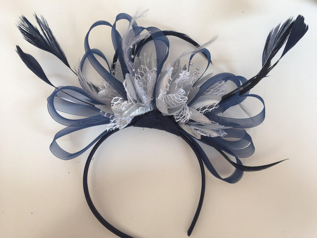 Caprilite Navy Blue Hoop & Silver Feathers Fascinator On Headband