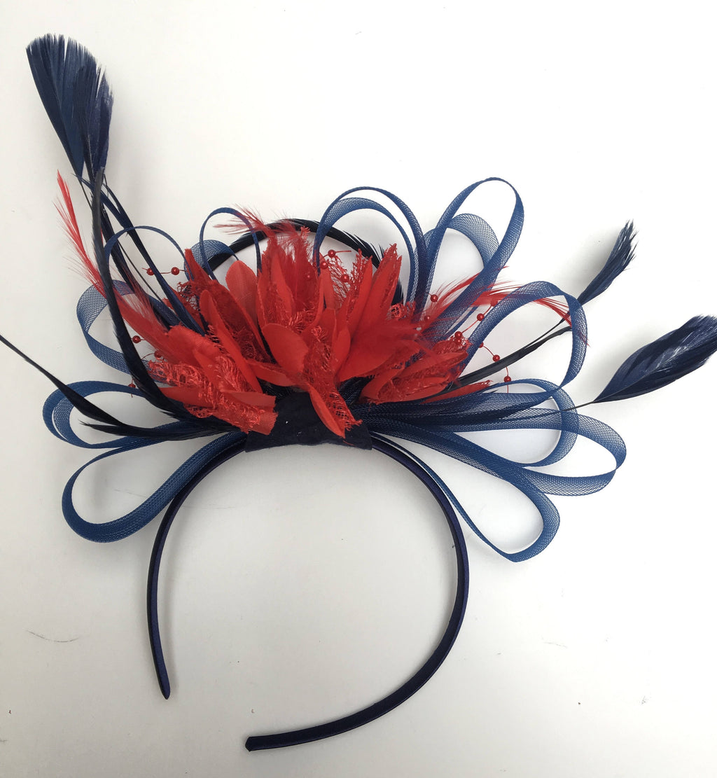 Caprilite Navy Blue & Scarlet Red Feathers Fascinator On Headband