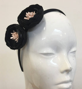 Caprilite Black Peony Flower Alice Band Headband Hairband Fascinator