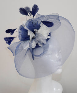 Caprilite Big Navy and Cream Ivory Fascinator Hat Veil Net Hair Clip Ascot Derby Races Wedding Headband Feather Flower