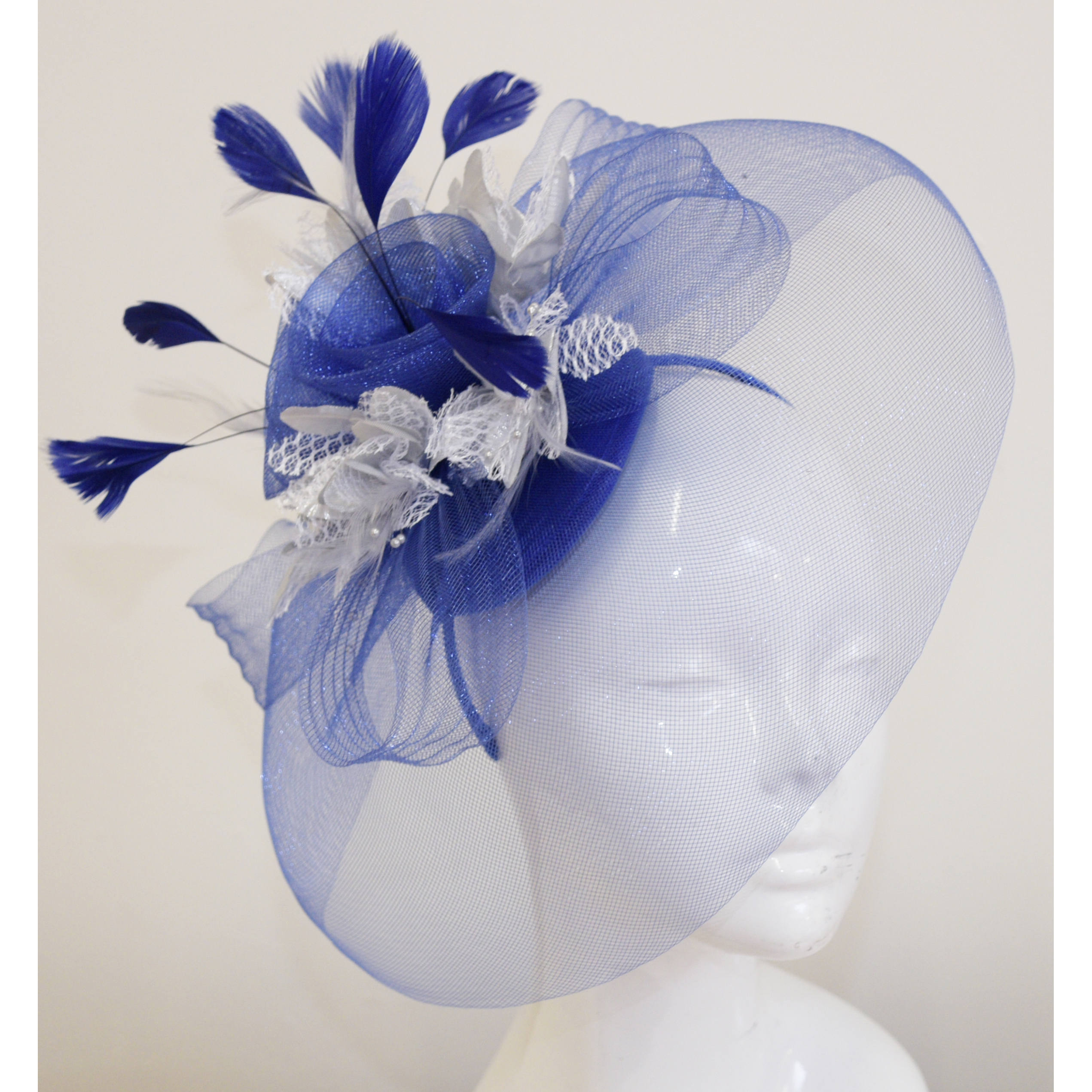 Caprilite Big Royal Blue and Silver Fascinator Hat Veil Net Hair Clip Ascot Derby Races Wedding Headband Feather Flower
