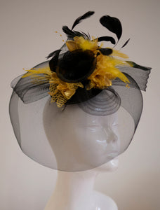 Caprilite Big Black and Gold Fascinator Hat Veil Net Hair Clip Ascot Derby Races Wedding Headband Feather Flower