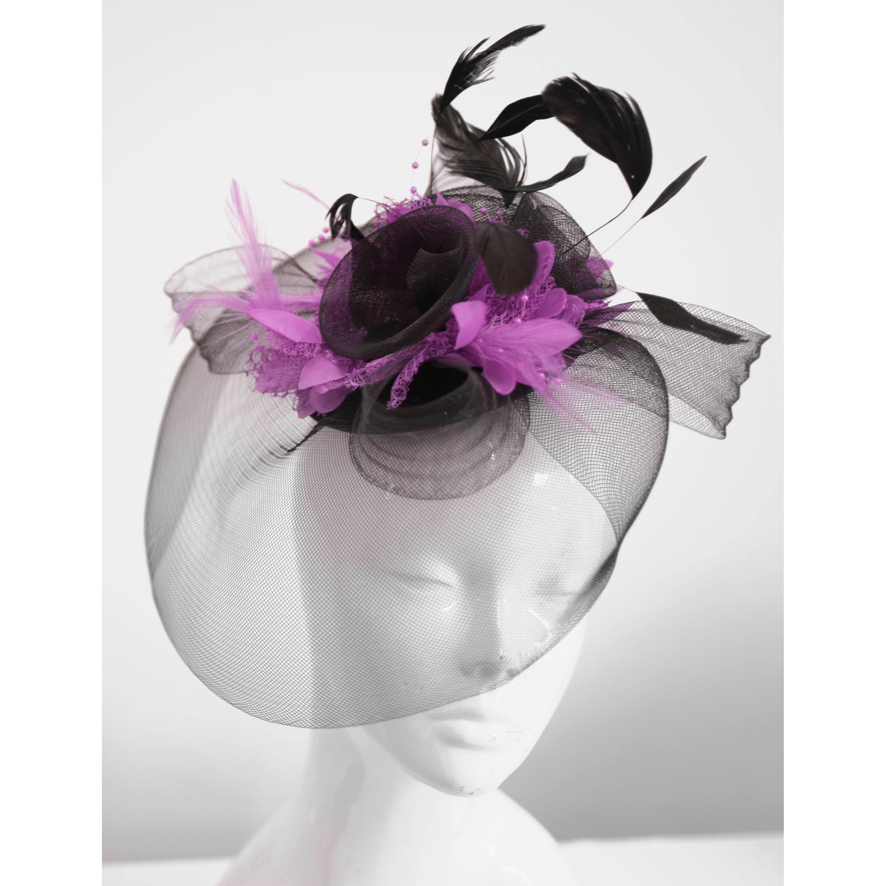 Caprilite Big Black and Lilac Purple Fascinator Hat Veil Net Hair Clip Ascot Derby Races Wedding Headband Feather Flower
