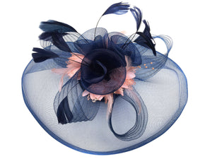 Caprilite Big Navy and Peach Nude Pink Fascinator Hat Veil Net Hair Clip Ascot Derby Races Wedding Feather Flower