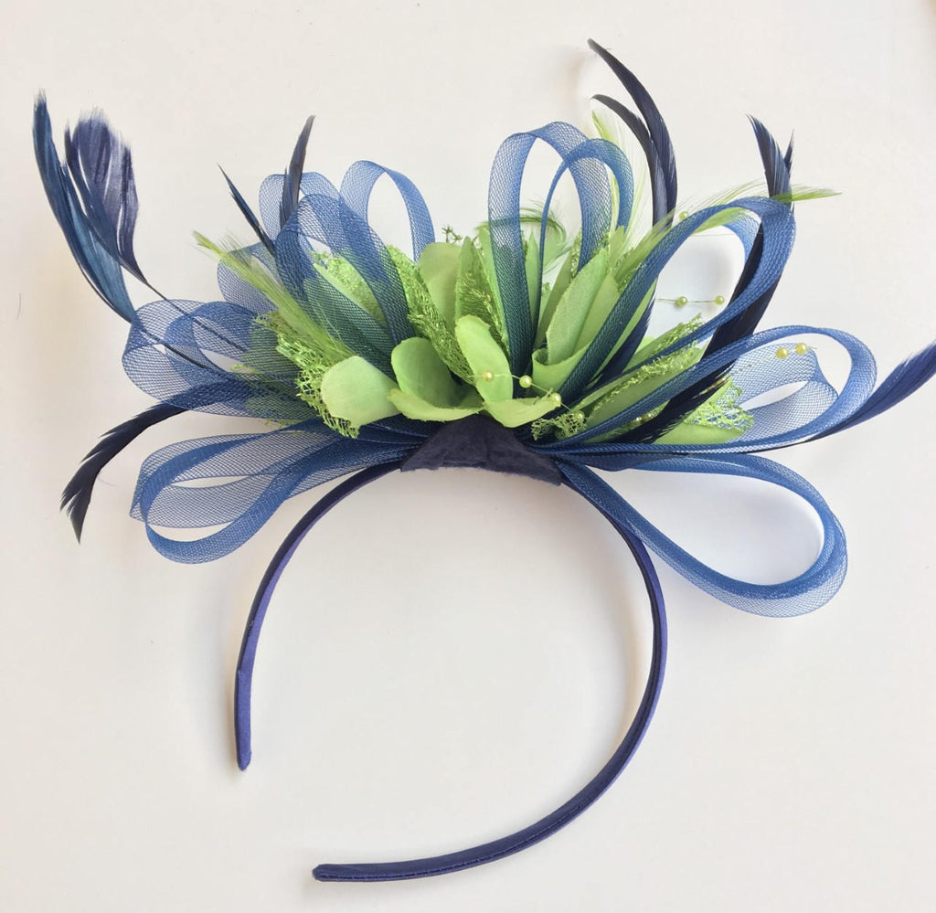 Caprilite Navy Blue & Lime Green Feathers Fascinator On Headband