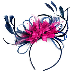 Caprilite Navy Blue Hoop & Fuchsia Hot Pink Fascinator On Headband