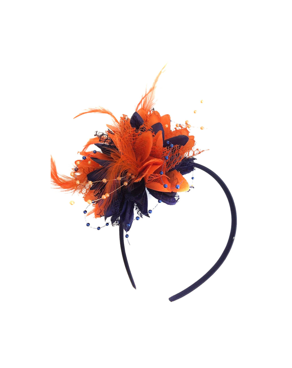 Caprilite Navy and Orange Fascinator Clip Hair Band Flower Corsage